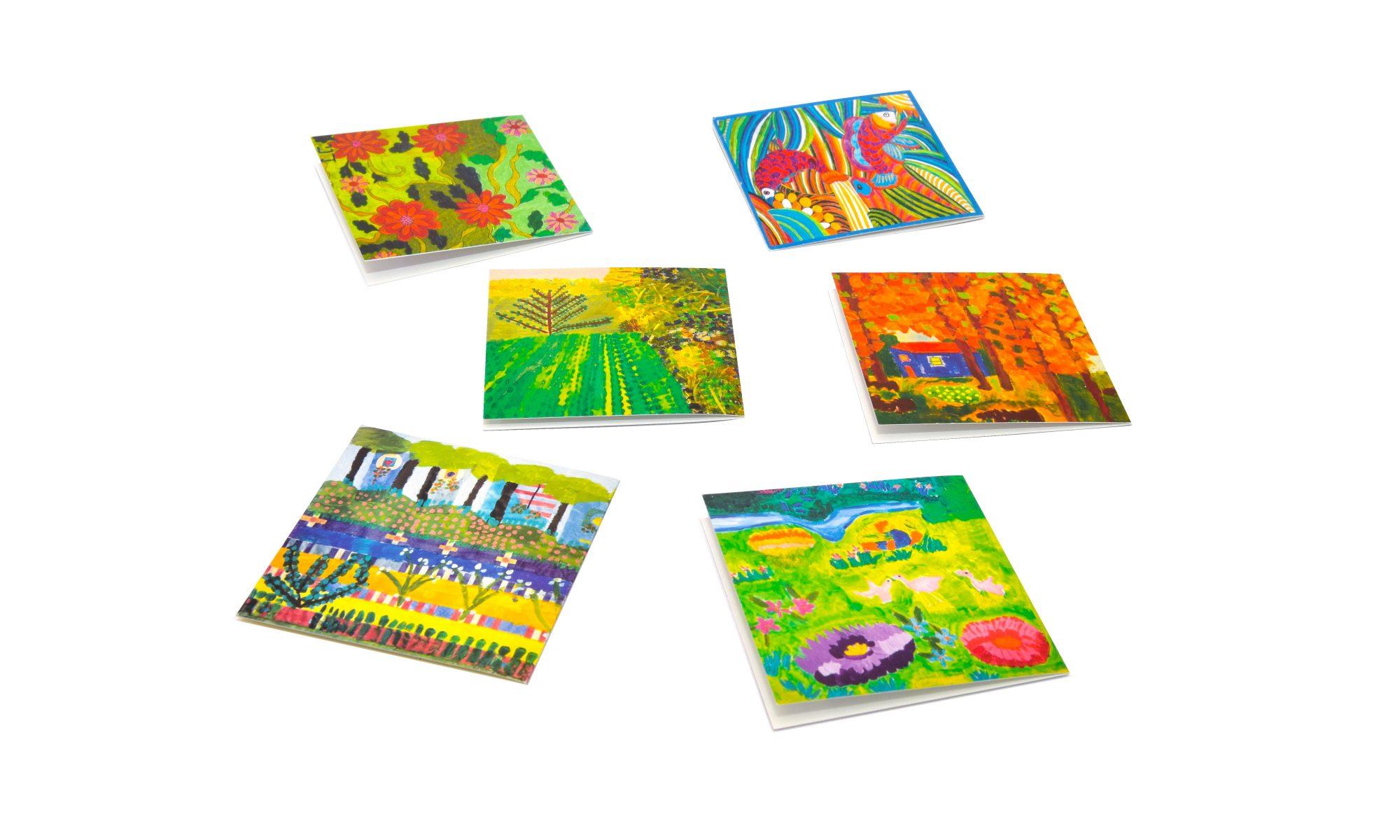 כרטיסי ברכה עם ציורים של אמנים עם אוטיזם